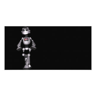 3D Halftone Sci-Fi Robot Guy Photo Greeting Card