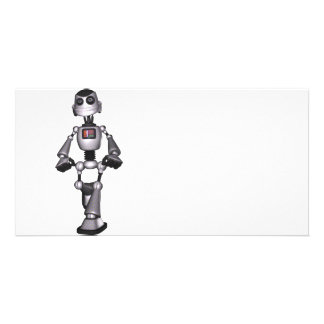 3D Halftone Sci-Fi Robot Guy Photo Card Template