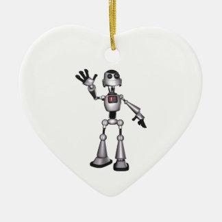 3D Halftone Sci-Fi Robot Guy Waving Ceramic Heart Decoration