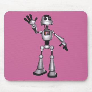 3D Halftone Sci-Fi Robot Guy Waving Mouse Pad