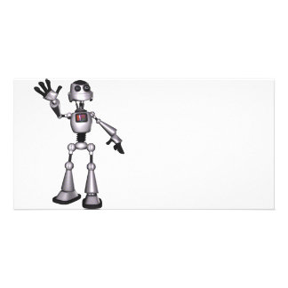3D Halftone Sci-Fi Robot Guy Waving Photo Cards
