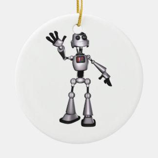 3D Halftone Sci-Fi Robot Guy Waving Round Ceramic Decoration