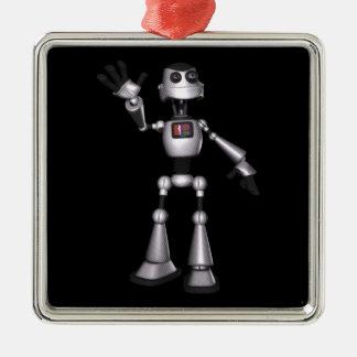 3D Halftone Sci-Fi Robot Guy Waving Silver-Colored Square Decoration