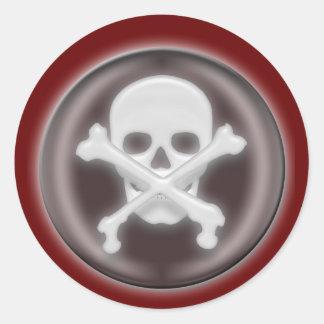 3D Halloween Skull and Cross-bones Round Sticker