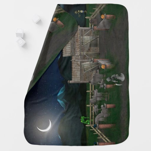 3d-haunted-house Baby Blanket