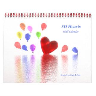 3D Hearts Wall Calendar