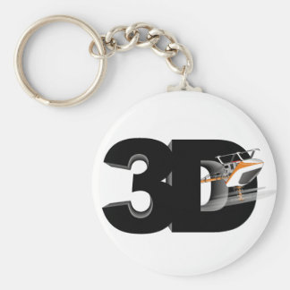 3d Helicopter Basic Round Button Key Ring