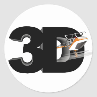 3d Helicopter Classic Round Sticker