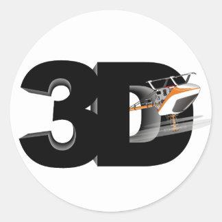 3d Helicopter Round Sticker