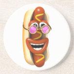 3d Hot Dog Cool Pink Shades Beverage Coaster