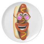 3d Hot Dog Cool Pink Shades Plate