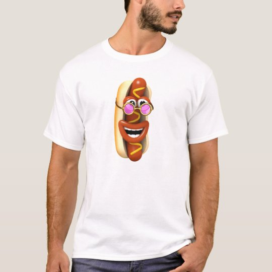 3d Hot Dog Cool Pink Shades T-Shirt
