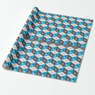3D Isometric Cubes Pattern Blue Grey Wrapping Paper