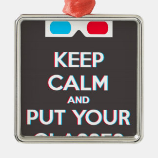 3D Keep Calm And Put You Glasses On Christmas Ornament