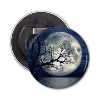 3D Landscape Background With Moon Over The Sea Bottle Opener