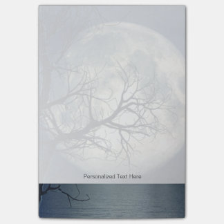 3D Landscape Background With Moon Over The Sea Post-it Notes
