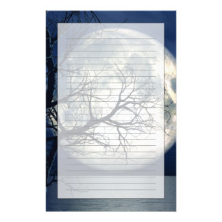 3D Landscape Background With Moon Over The Sea Stationery