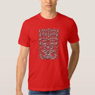 3D Liquid Silver GreenMan Damask on Red Satin Lush Tshirts