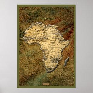 3D-look Africa Map Art Poster