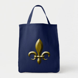 3D Look Gold Fleur de Lis Grocery Tote Bag