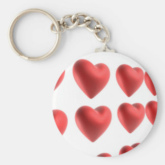 3D Love Hearts Design Basic Round Button Key Ring