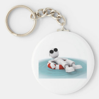 3d man relaxing in a pool basic round button key ring