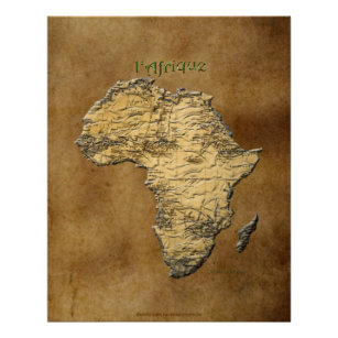 3D Map of AFRICA on Parchment Art Poster