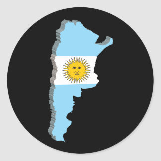 3D Map Of Argentina Classic Round Sticker