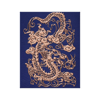 3D Metallic Dragons on royal blue Leather Print Stretched Canvas Print