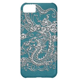 3D Metallic Dragons on Teal Leather Print iPhone 5C Case