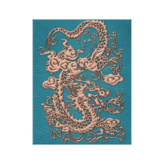 3D Metallic Dragons on Teal Leather Print Stretched Canvas Print