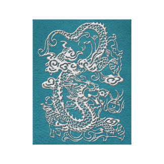 3D Metallic Dragons on Teal Leather Print Stretched Canvas Prints