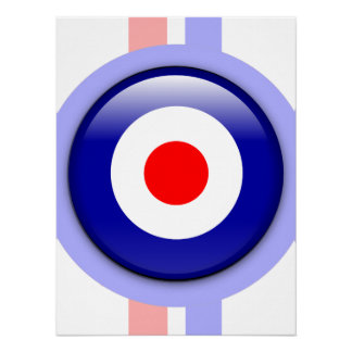 3d Mod target on Blue and red lines Poster