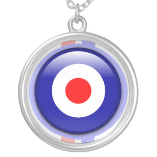 3d Mod target on Blue and red lines Silver Plated Necklace