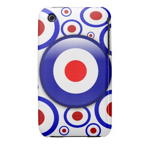 3d Mod Target on sixties pattern iPhone 3 Case-Mate Cases
