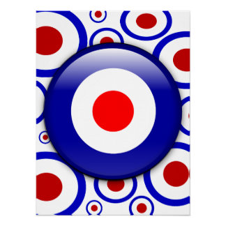 3d Mod Target on sixties pattern poster print