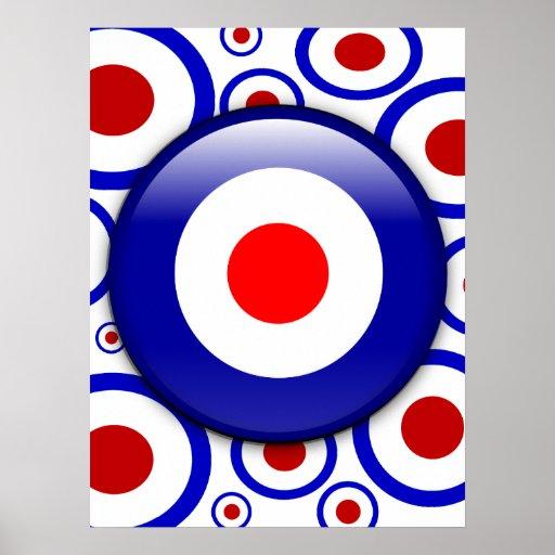 3d Mod Target on sixties pattern poster print