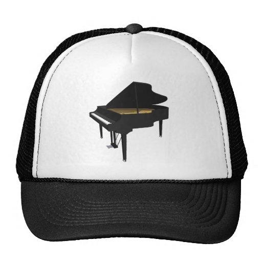 3D Model: Black Grand Piano: Mesh Hats