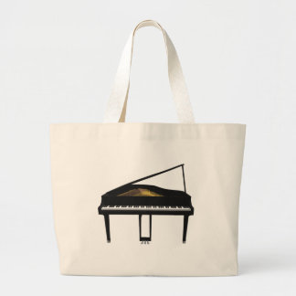 3D Model: Black Grand Piano: Large Tote Bag