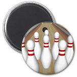 3D Model: Bowling Pins on Lane: 6 Cm Round Magnet