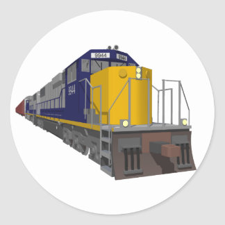 3D Model: Freight Train: Railroad: Classic Round Sticker