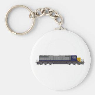 3D Model: Train Engine: Railroad: Basic Round Button Key Ring
