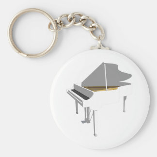 3D Model: White Grand Piano: Basic Round Button Key Ring