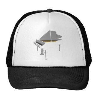 3D Model White Grand Piano Mesh Hat