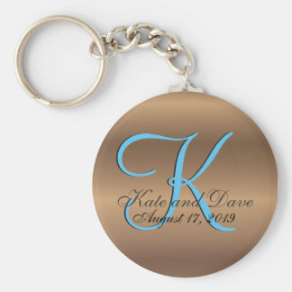 3d Monogram Bronze Basic Round Button Key Ring