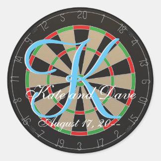3d Monogram Dart Wedding Favor Round Sticker