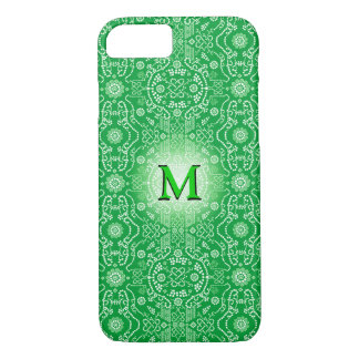 3D Monogram Green White Floral iPhone 7 Case