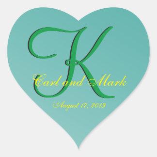 3d Monogram Teal Green Heart Sticker