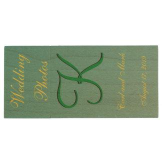 3d Monogram Teal Green Wood USB 2.0 Flash Drive