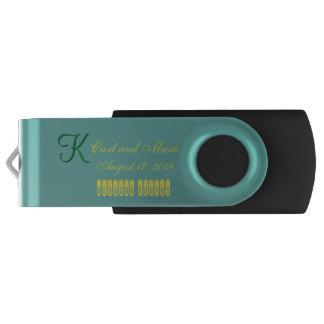 3d Monogram Teal Green Swivel USB 3.0 Flash Drive